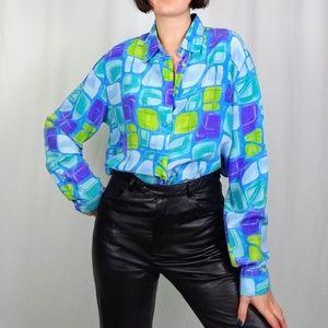 Vintage sea glass print silk blouse